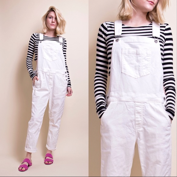 outlet on sale enjoy free shipping select for authentic Lucky Brand white minimalist denim bib overalls